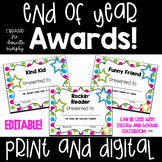 End of Year Award Certificates Colorful Polka Dot or Black