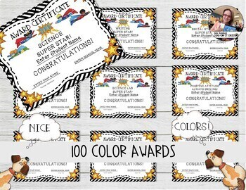 End of Year Award Certificates Editable Superhero