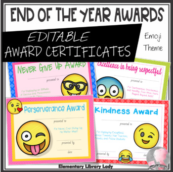 end of year award certificates emoji themed editable by elementary