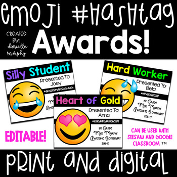 Emoji and Hashtag End of Year Award Certificates Editable