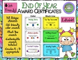 End of Year Award Certificates (Ink Friendly Color, Black-Line, & Editable)