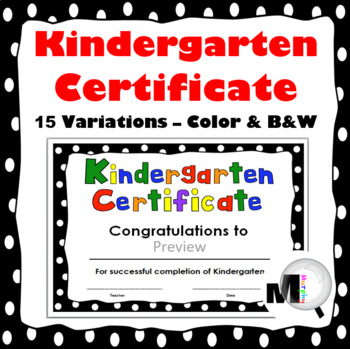 End of Year Award - Kindergarten Certificate