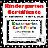 End of Year Award - Kindergarten Certificate