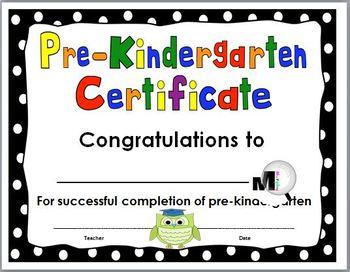 End of Year Award - Pre-Kindergarten Certificate