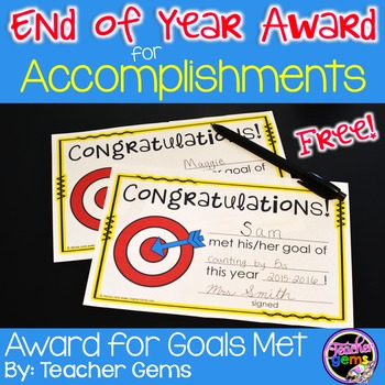 End of Year Award for Accomplishments