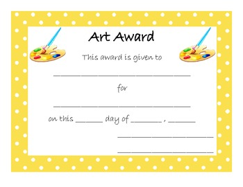 End of Year Award for Art