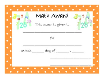 End of Year Award for Math