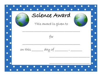 End of Year Award for Science