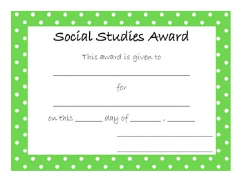 End of Year Award for Social Studies