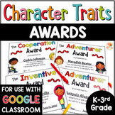 Character Traits Awards for Lower Grades