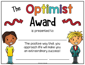 End of Year Awards: Character Traits Awards for Lower Grades