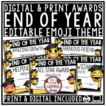Emoji End of Year Awards EDITABLE & Class Certificate Character Traits Awards