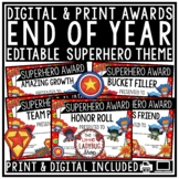 Superhero End of The Year Awards Editable- Character Trait Class Awards