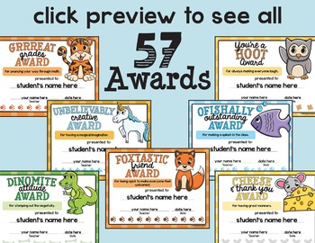 End of the Year Awards - End of Year Awards - Animal Puns  - Classroom Awards