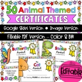 End of Year Awards {Animal-Themed} Editable | Distance Learning