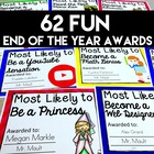 End of Year Awards (FILLABLE)- 47 Class Superlatives for Grades 2-6