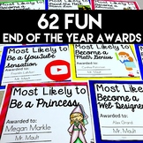 End of Year Awards (FILLABLE)- 62 Class Superlatives for Grades 2-6