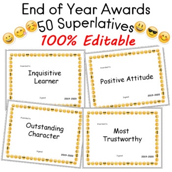End of Year Awards 50 Superlatives Editable