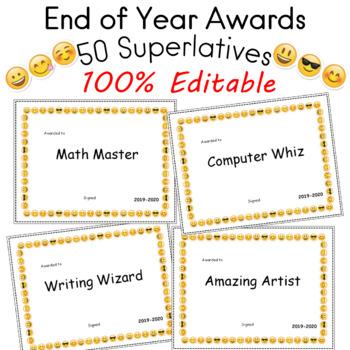 Editable End of Year Awards 50 Superlatives