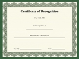 Classroom Awards: Certificate of Recognition