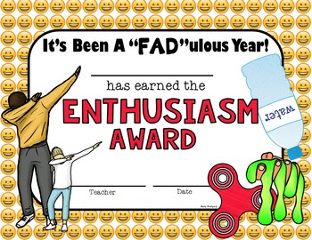 End of the Year Awards: Editable:  Emojis, Dabbing, Bottle Flipping, Slime, Spin