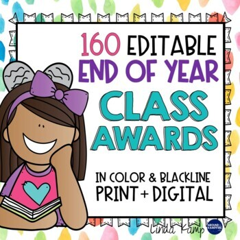 End of Year Awards EDITABLE- 100 Unique Awards