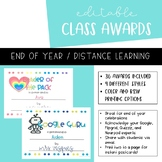 End of Year Awards | EDITABLE | Printable | Distance Learning
