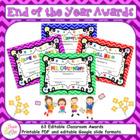 End of the Year Awards (EDITABLE) / Superlatives / Classroom Awards