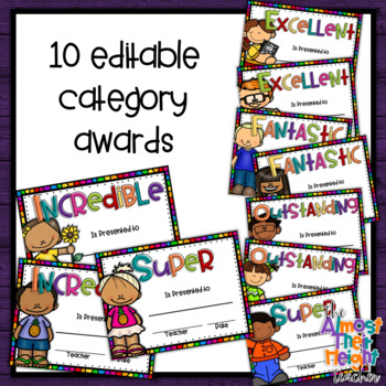 End of Year Awards - Editable - 134 different award categories