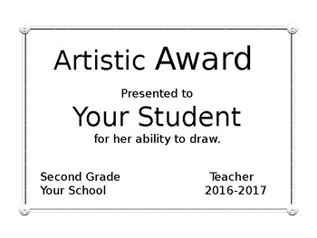 End of Year Awards, Editable