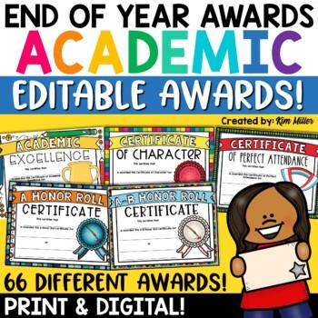 end of year academic awards editable academic achievement awards