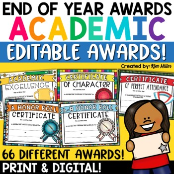 End of Year Academic Awards - Editable Academic Achievement Awards Certificates