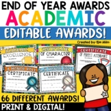 End of the Year Awards Editable Academic Awards Print and Digital