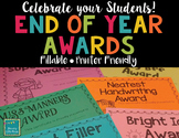 End of Year Awards- Editable/Fillable