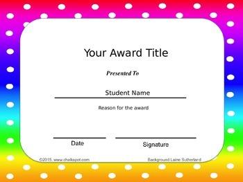 Editable Classroom Awards (Rainbow Dot Background)