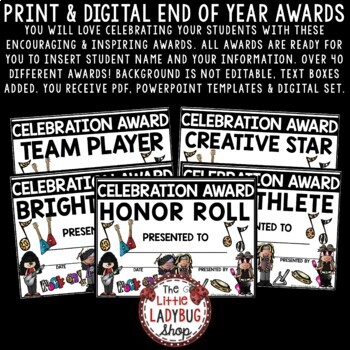 End of Year Awards Editable Class Certificates -Rockstar Theme