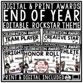 Rockstar Theme End of Year Editable Awards and Certificates for Students