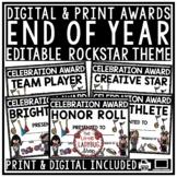 End of Year Awards Editable Class Certificates -Rockstar Theme