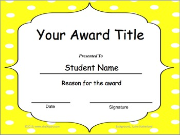 editable classroom awards yellow polka dot background
