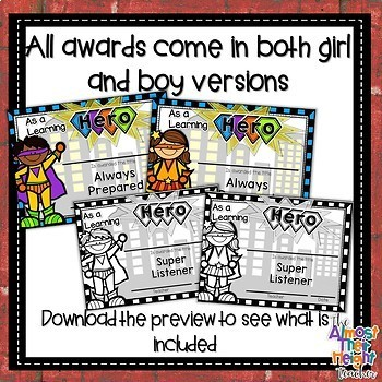 End of Year Awards - Hero Themed - Color & Black and White Bundle