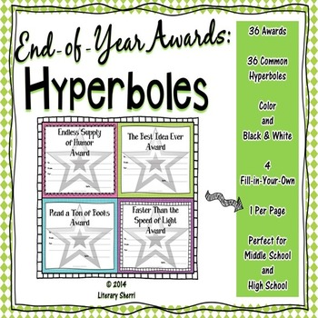 End of Year Awards: Hyperboles --> 1-per-page (Grades 5, 6, 7, 8)