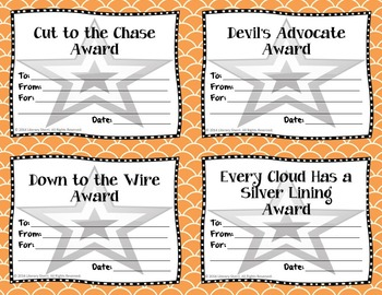 End of Year Awards: Idioms --> 4-per-page (Grades 5, 6, 7, 8)