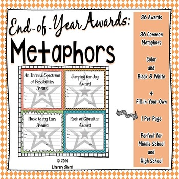 End of Year Awards: Metaphors --> 1-per-page (Grades 5, 6, 7, 8)