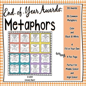 End of Year Awards: Metaphors --> 4-per-page (Grades 5, 6, 7, 8)