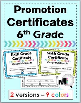 End of Year Awards - Promotion Certificates - Grade 6