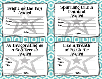 End of Year Awards: Similes --> 4-per-page (Grades 5, 6, 7, 8)