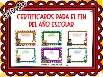 End of Year Awards Spanish (Certificados para el fin del a