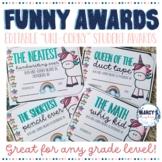 Funny End of Year Awards EDITABLE & Unicorn theme