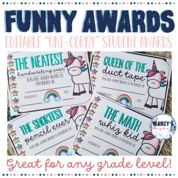 Funny End of Year Awards EDITABLE & Unicorn theme