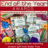 End of the Year Awards with Matching Gift Ideas: Editable in PowerPoint